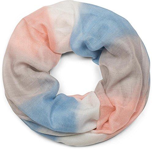 styleBREAKER Loop Schal mit Streifen Farbverlauf Muster, Schlauchschal, Tuch, Unisex 01018097, Farbe:Blau-Grau-Rosa