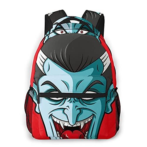 Judascepeda Mochila de ocio múltiple,Dibujos animados de cabeza de vampiro riendo, Mochila deportiva de viaje para estudiantes universitarios adultos jóvenes