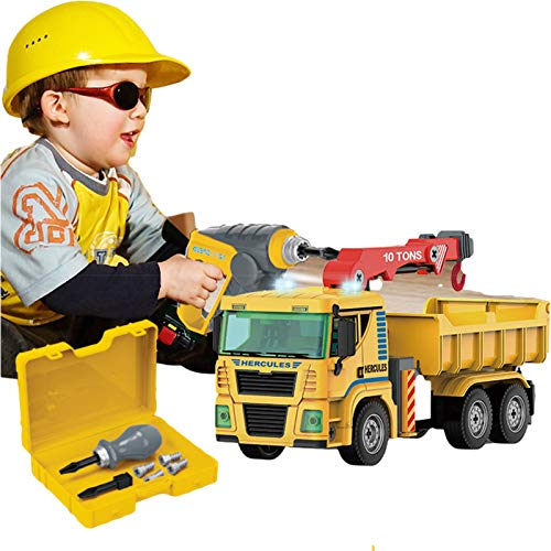 N\C Take Apart Construction Vehicle Set with Electric Drill STEM Building Toys Crane w/ Lights, Sounds Engineering STEM Learning Toys Building Play Set for 3 4 5 6 7 Year Old Kids Children
