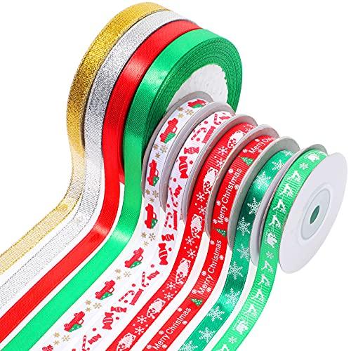 10 Rollos Cintas de Navidad de 0,4 Pulgadas de Ancho para Envolver Paquetes Set de Cinta de Raso de Fiesta Vacación Cintas Artesanales de Raso Tela Brillante Metálico para Fiesta de Navidad