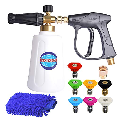 SZSXHX S700 Foam Cannon Snow Foam Lance Nozzle Pressure Washer Jet Wash with 7 Nozzle Tip 1 M22 Adapter 1 Coral GloveJet Wash Larger Container 2L Higher Flow Rate for Cleaning Cars,Walls,Decks,Glass