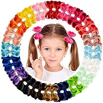 40PCS 3 Inches Baby Girls Hair Bows Alligator Clips Grosgrain Ribbon Hair Barrettes Hair Accessories for Kids Toddlers School Girls