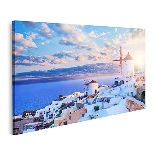 Bild auf Leinwand Santorin Skyline Wunderschöne Santorin Landschaft vor blauem Himmel mit Wolken Oia Stadt Griechenland Wahrzeichen Bilder Wandbild Poster Leinwandbild