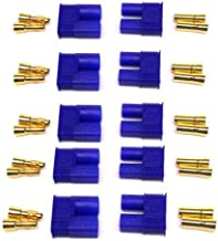 AYECEHI 5 Pairs EC5 Battery Connector Plugs EC5 Male Female 5mm Banana Plug Connectors Gold Bullet Connector for RC ESC LIPO Battery Device Electric Motor