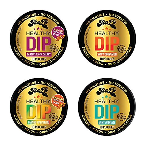 TeaZa The Bold & Bangin Black Cherry & Wintergreen & Spicy Cinnamon & Mango Habanero Bundle - Herbal Snuff - Great Tasting & Refreshing - 4 Count