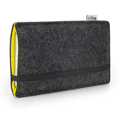 stilbag Handyhülle 'Finn' für Huawei Nexus 6P - Farbe: anthrazit/gelb | Smartphone-Tasche aus Filz | Handy Schutzhülle | Handytasche Made in Germany