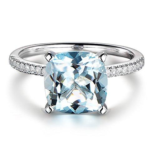 Promesa Piedra preciosa Naturales Aguamarina 14K Oro blanco Inlay 0.15ct Diamante in South Africa Boda Compromiso Anillo para Mujer