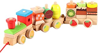 Lewo Wooden Toys Stacking Train Set Toddler Geometric Shapes Sorter Puzzles Games Educational Toys for Kids