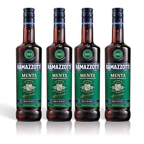 Ramazzotti Menta Kräuterlikör 4er Set, mit Minznote, Schnaps, Spirituose, Alkohol, Flasche, 32%, 4 x 700 ml