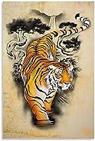 アートパネル美的装飾カラフルなタイガーキャンバスアートパネルポスターと壁アートパネル写真プリントモダン家族の寝室の装飾ポスター 60x90cm x1 フレームレス