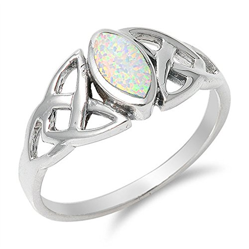 Celtic Knot White Simulated Opal Marquise Ring .925 Sterling Silver Band Size 8
