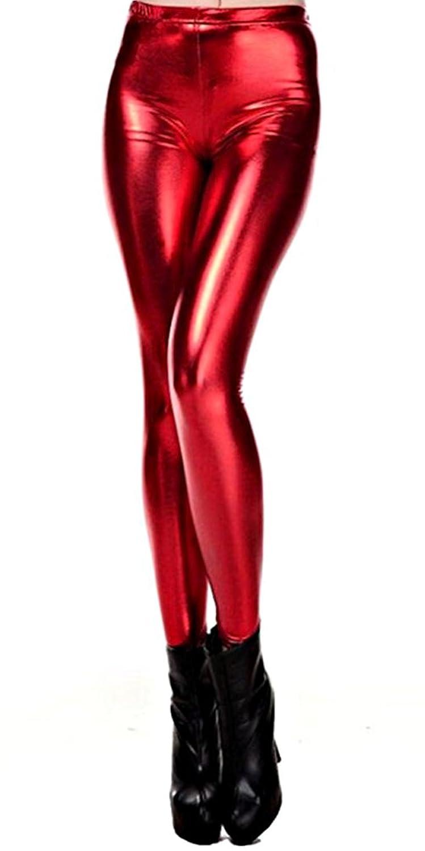 メタリック レギンス フェイクレザー レディース ダンス衣装 スパッツ ヒップホップ 光沢 派手 個性的