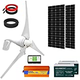 ECO-WORTHY 800W Solar Wind Generator Kit: 12/24V 400W Wind Turbine + 2pcs 195W Solar Panel+ 2pcs 100Ah Battery+ 1pcs 1500W Inverter for Homes Boat