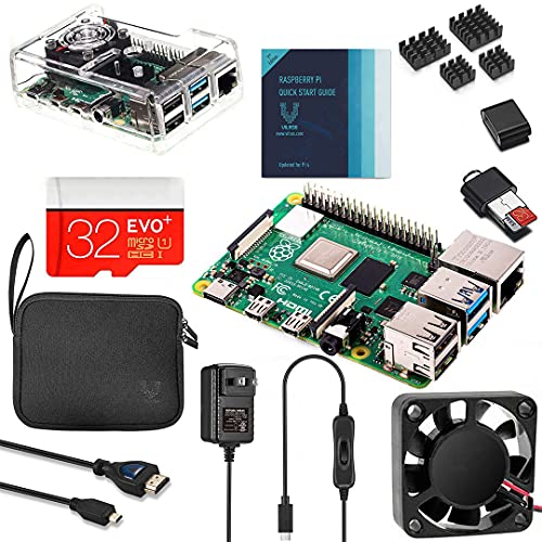 Vilros Raspberry Pi 4 4GB Complete Kit with Clear Transparent Fan Cooled Case