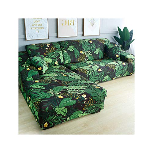 HGblossom L-Form (Kaufen Sie 2 Stück) Ecksofa-Bezug elastisch für das Wohnzimmer Bedruckter Bezug für Sofabezüge Stretch 1/2/3/4 Sitz Farbe 13 Doppelsitz 145-185 cm