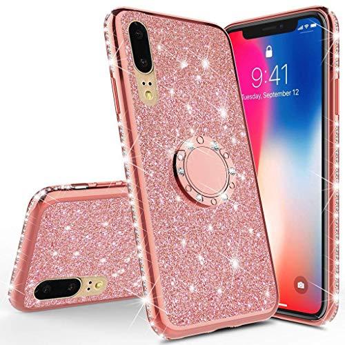 Karomenic Silikon Hülle kompatibel mit Huawei P20 Lite Glänzend Bling Glitzer Schutzhülle Weiche TPU Handyhülle mit Ring 360 Grad Ständer Diamant Tasche Case für Frauen Mädchen,Rosegold