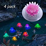 pearlstar Solar Floating Pool Lights Outdoor Pond Decoration Lighting Waterproof Color Changing LED Garden Lotus Lamp for Swimming Pool, Lily Pond, Yard (Lotus-4pack)