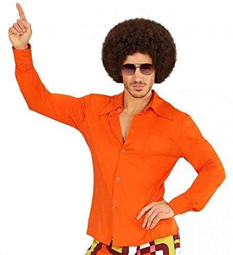 70er Jahre Retro Hemd mit und ohne Muster Disco Herren Kostüm Siebziger Schlager, Größe:L/XL;Farbe:Orange