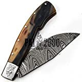 PAL 2000 Damascus Knives - Handmade Damascus Steel Folding Pocket Knife With Sheath - Unlockable Folding Knife - Buy With Confidence SPSP-9696
