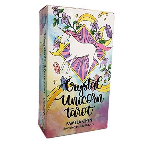 NINGXUE Juego de baraja de Cartas de Tarot de Unicornio de Cristal, Juegos de Mesa para Fiestas Familiares, para Principiantes, 78 Hojas (versión en inglés)