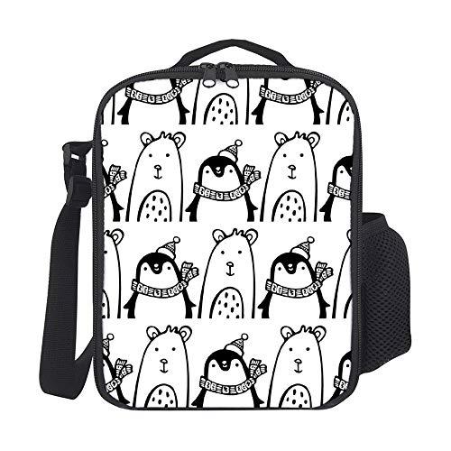 Bolsa de almuerzo portátil de pingüino y osito de línea de dibujos reutilizables fiambrera a prueba de fugas aislada para mujeres hombres niñas niños para el trabajo escolar picnic