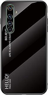 GUANHAO Realme X50 Pro 5G ケース, ソフトTPU バンパー 強化ガラス バック 薄い グラデーション 傷つきにくい 衝撃吸収 おしゃれ 保護ケース ために Oppo Realme X50 Pro 5G - ブラック
