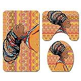 Cortinas de baño Alfombras Set Cortina de Ducha Alfombra de Pedestal Alfombra de Asiento de Inodoro Alfombrilla de baño Mujer Africana Imprimir Juego de 4 Piezas BAIYIQ-SY271