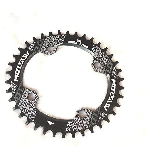 CarbonEnmy Aluminium Fahrrad Kettenblatt Kettenblätter Oval Chainring BCD104mm 32T 34T 36T (Schwarz, 36T)