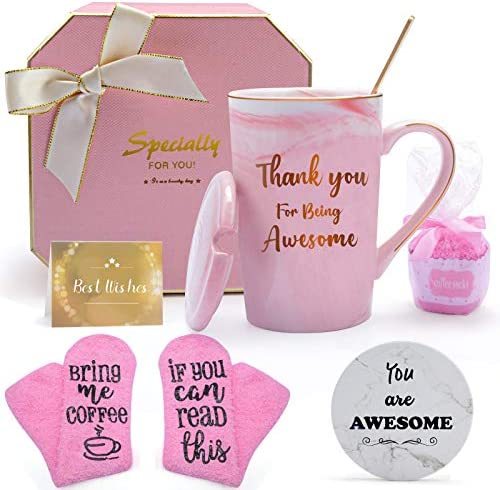 HULASO Birthday Gifts for Friends Female Funny Gift Basket for Women with Coffee Mugs and Socks product image