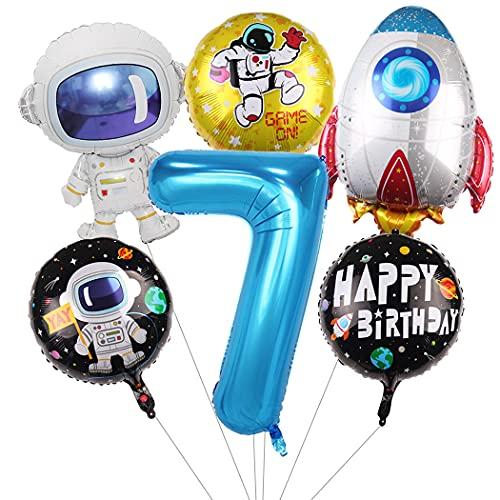 Daimay Großes Astronauten Weltraum Luftballon Set Geburtstagsdeko Kinder 7. Geburtstag Party Dekoration Raketen Mond Folienballon Luftballons Riesen Folienballon Zahl 7 Blau