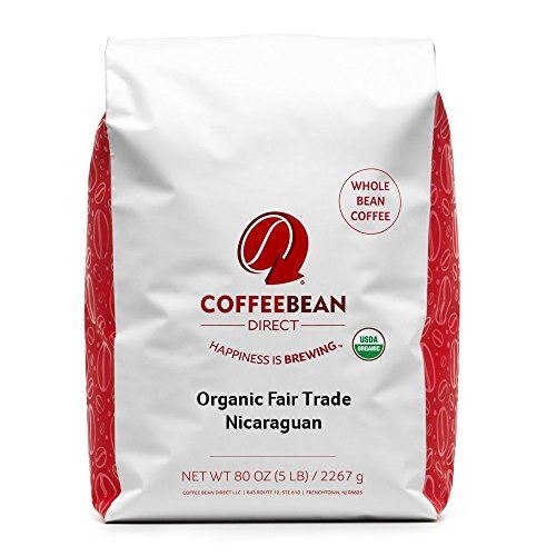 Coffee Bean Direct Nicaraguan, Shade Grown Organic Fair Trade Whole Bean Coffee, 5-Pound Bag