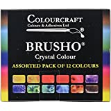 Brusho par Colourcraft Brusho Cristal Lot de 12Pots de pigments à Peinture