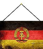 NWFS Land Fahne DDR National Flagge Blechschild Metallschild Schild Metal Tin Sign gewölbt lackiert 20 x 30 cm mit Kordel