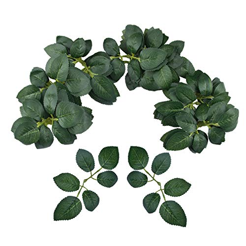 Meiliy 60pcs Bulk Rose Leaves Artificial Greenery Fake Rose Flower Leaves for DIY Wedding Bouquets Centerpieces Party Decorations Rose Vine Wreath Garlands Supplies