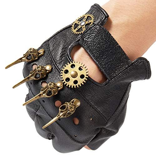 dream cosplay Steampunk Lederhandschuhe Herren Gothic Fingerlose Handschuhe