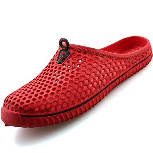 katliu Breathable Hausschuhe Clogs Pantoletten Sandalen Slippers AntiRutsch Gartenschuhe Badeschuhe Strandschuhe Sommer Schuhe Damen Herren, Rot 40