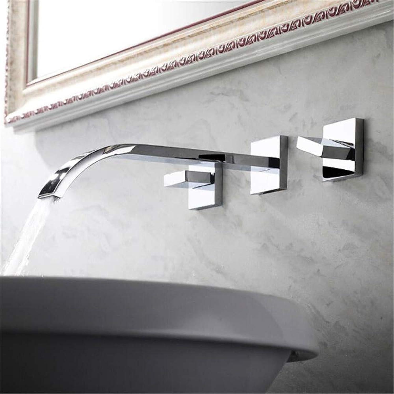 Waschtischarmaturendrei-Loch-Split-Wasserhahn Doppelgriff Wandhahn Versteckt Waschbecken Wasserhahn Hei Und Kalt Kupfer Quadrat
