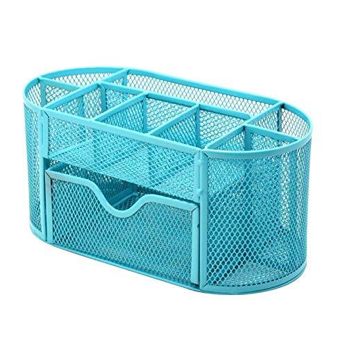 多機能文具収納ボックスデスクオーガナイザー収納ケース 9格 シンプル メッシュ式ペンスタンド 卓上収納 文具収納 事務用品 格納 オフィス 金属材料 ペン立て オフェス用品 整理小物入れ (青い)