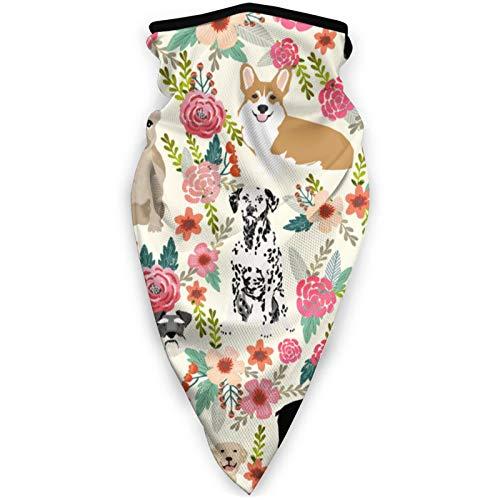 YTGQ4PT Mascotas y flores - Crema para la boca al aire libre, máscara de esquí a prueba de viento, máscara de esquí, bufanda, bandana, hombres y mujeres