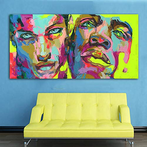 wZUN Lienzo artístico con Cuchillo, Pintura, Retrato, Cara de Dos Hombres, decoración Moderna para el hogar, Imagen, Mural para Sala de Estar, 50x100cm