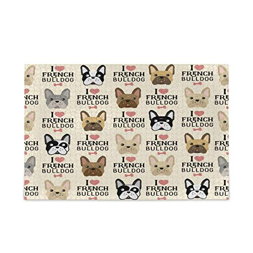 KEEPREAL French Bulldog Pattern 500 Piece Large Jigsaw Puzzle for Adults - Game Interesting Toys - Hand Made Puzzles Personalized Gift