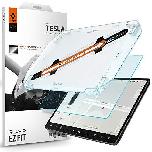 Spigen, Panzerglas Schutzfolie kompatibel mit Tesla Model 3 / Y, Schablone für Installation enthalten, Matt, 9H gehärtes Glas, Anti-Fingerabdruck, Tesla Model 3 / Y Schutzfolie