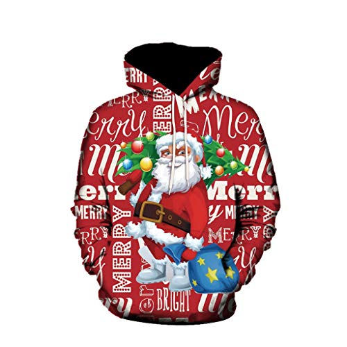 Zylione Mens Christmas Hoodie Ladies Fall Winter 3D Printing Christmas Sweater Oversize Snowman Pullover Sweatshirt Casual