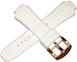 Swiss Legend 30MM White Silicone Watch Strap & Rose Gold Stainless Buckle fits 46mm Super Shield Watch
