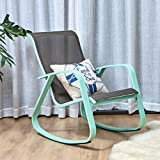 Grand patio Outdoor Patio Rocking Chair Glider with Macaron Blue Aluminum Frame, Indoor