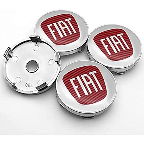 YFBB 4Pcs Car Tapacubos Hub Centre Caps, para FIAT 500 500L 500X...