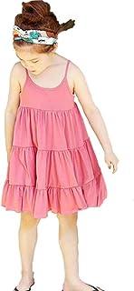b0b5b588ac8 ABsoar 💙 Robe de Bebe Fille Tenues Enfant sans Manches Robe imprimée Sling  de Couleur Unie
