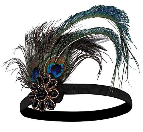 BABEYOND Damen 1920s Stirnband Pfau Feder 20er Jahre Stil Flapper Haarband Inspiriert von Great Gatsby Damen Kostüm Accessoires