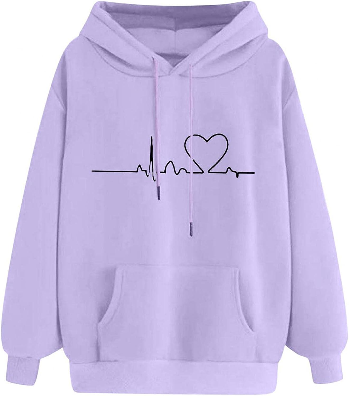 ONHUON Cute Hoodies for Women,Womens Heart Sweatshirt Long Sleeve Splice Tops Loose Hoodies Teens Girls Casual Pullover