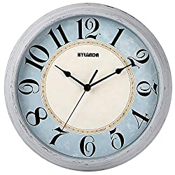 HYLANDA Wall Clock, Silent Vintage 12 Inch Retro Wall Clocks Battery Operated Non Ticking Decorative Kitchen Living Room Home Office School(Light Grey)